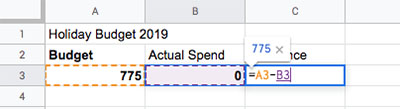 Holiday Budget - Difference Function