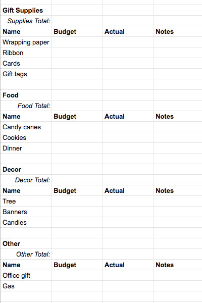 Holiday Budget Example